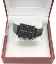 Ebel; vintage ultra slim gents wristwatch, President model with square black dial, silver hands