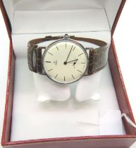 Ebel; vintage ultra slim mechanical wristwatch with cream dial, second sub dial and brown leather