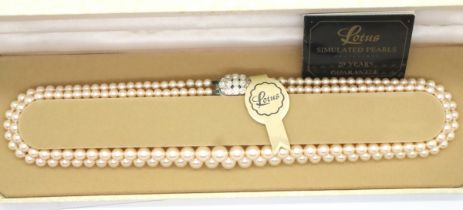 Lotus, modern boxed pearl necklace. P&P Group 1 (£14+VAT for the first lot and £1+VAT for subsequent