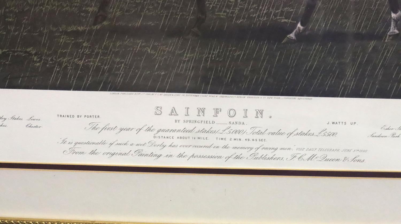 Sainfoin, McQueen's Derby Winner print, framed, 80 x 90 cm including frame. Not available for in- - Image 3 of 3