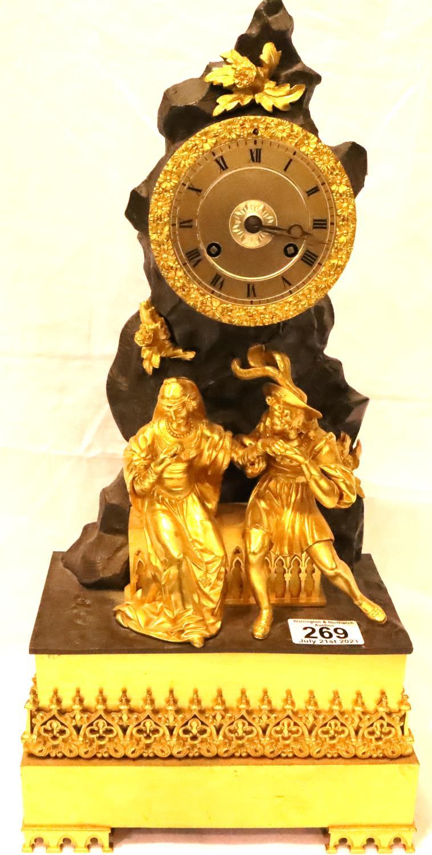 French Empire gilt bronze figural mantel clock by Leroy, Paris, C.1810 the silk thread count wheel