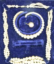 Vintage pearl necklace bracelet and ring set, boxed. P&P Group 1 (£14+VAT for the first lot and £1+