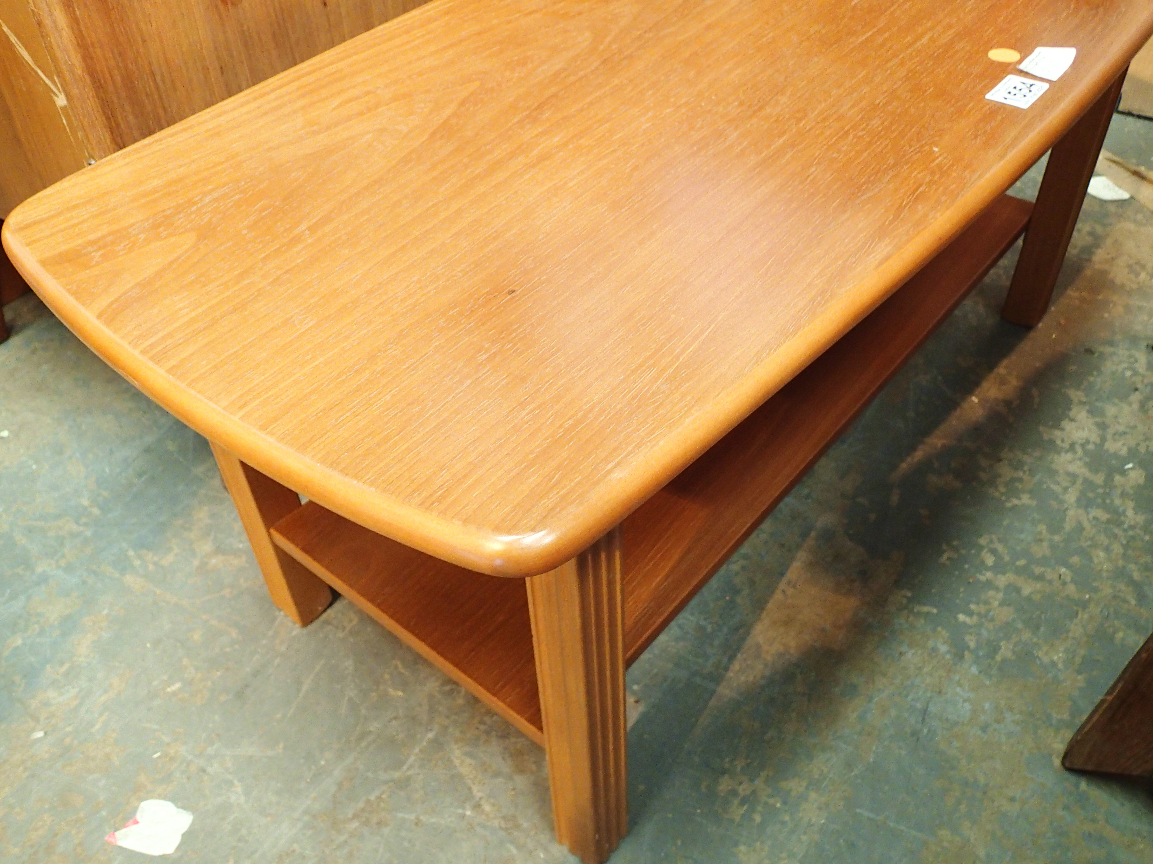 Retro oak coffee table. Not available for in-house P&P, contact Paul O'Hea at Mailboxes on 01925