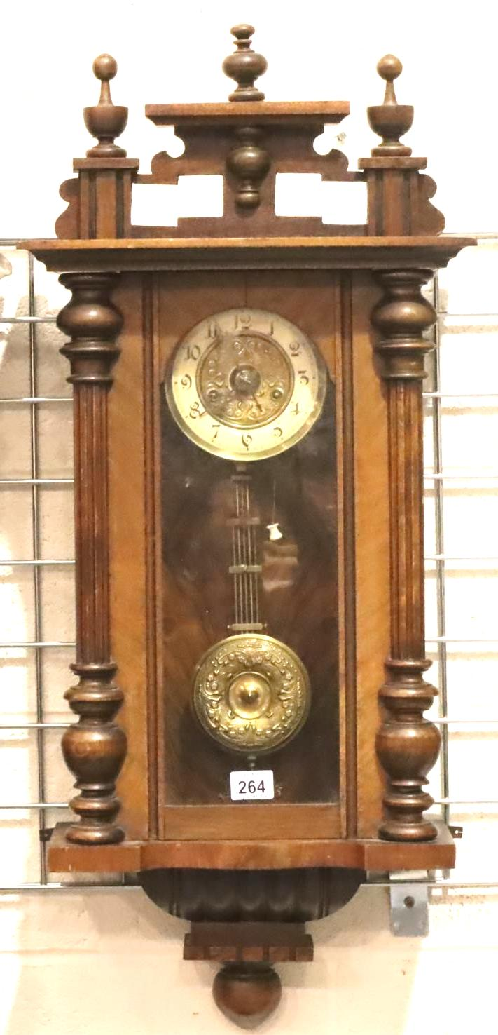Small 19th Century walnut cased wall clock with enamelled chapter ring. Not available for in-house