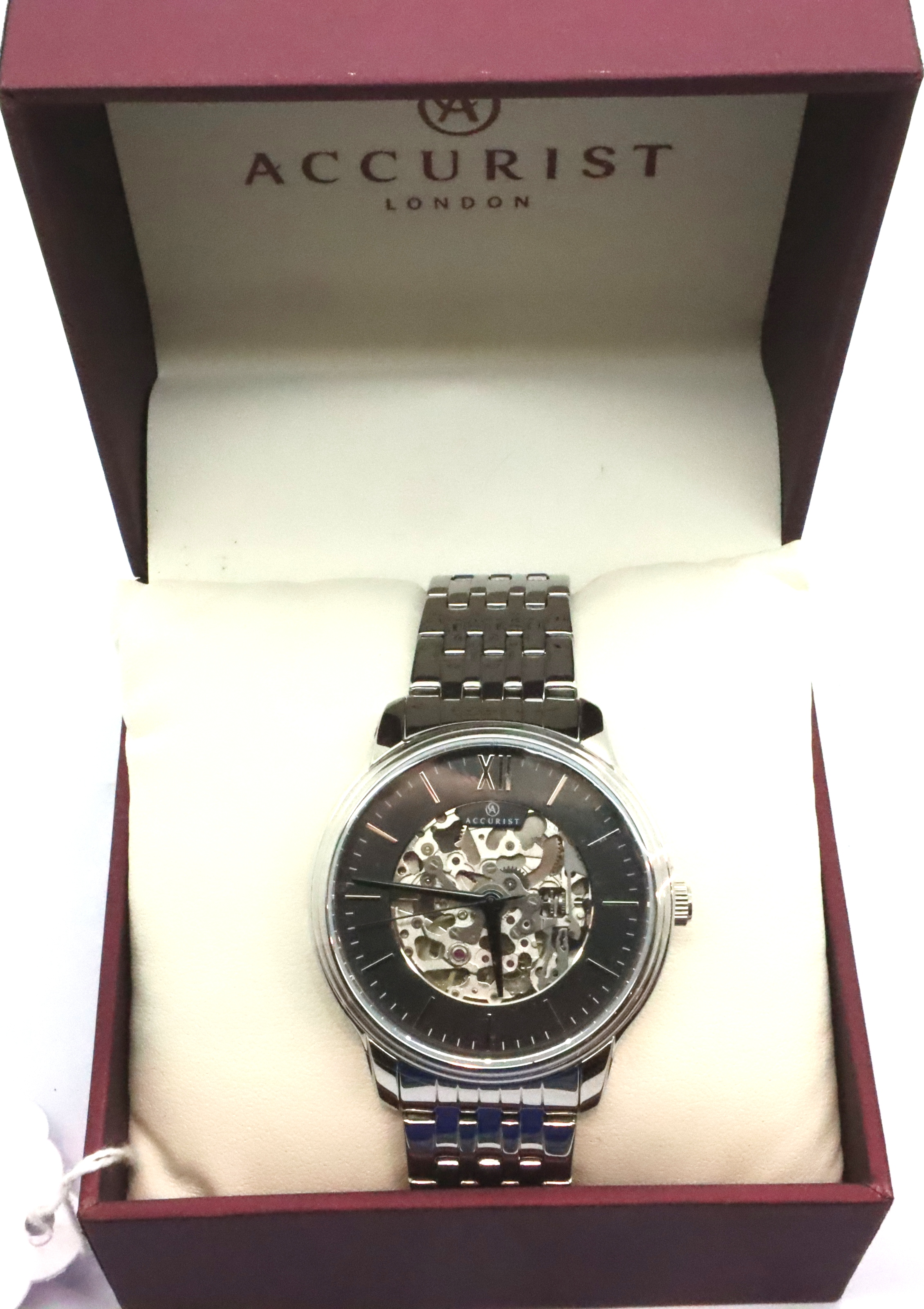 Accurist; gents automatic skeleton wristwatch. working at lotting up. P&P Group 1 (£14+VAT for the - Image 3 of 4