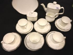 Royal Doulton tea set with teapot in the Platinum Concord pattern. Not available for in-house P&P,