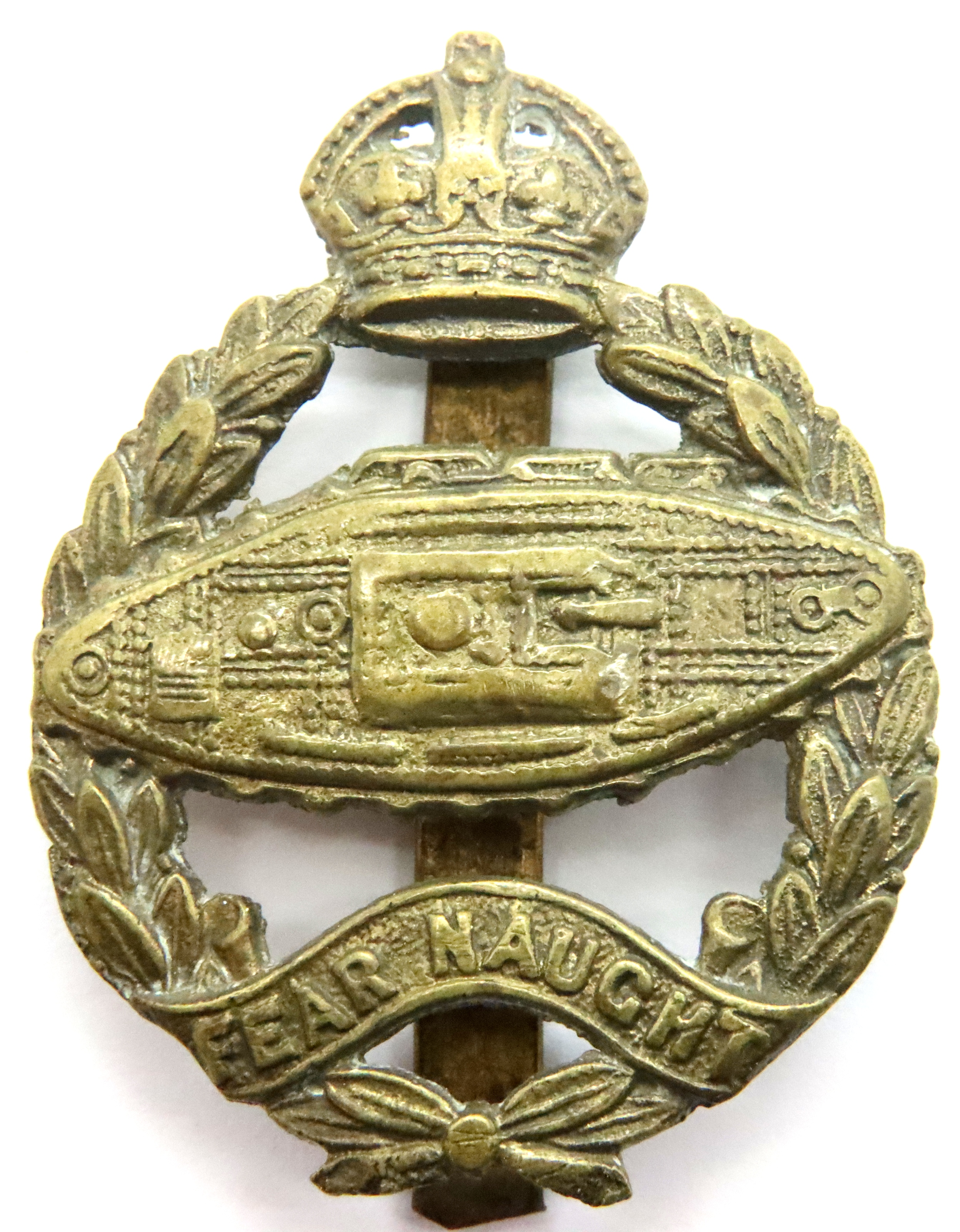 Rare 1924 Issue Royal Tank Regiment Cap Badge. (Tank facing the wrong way) This is the brass variant