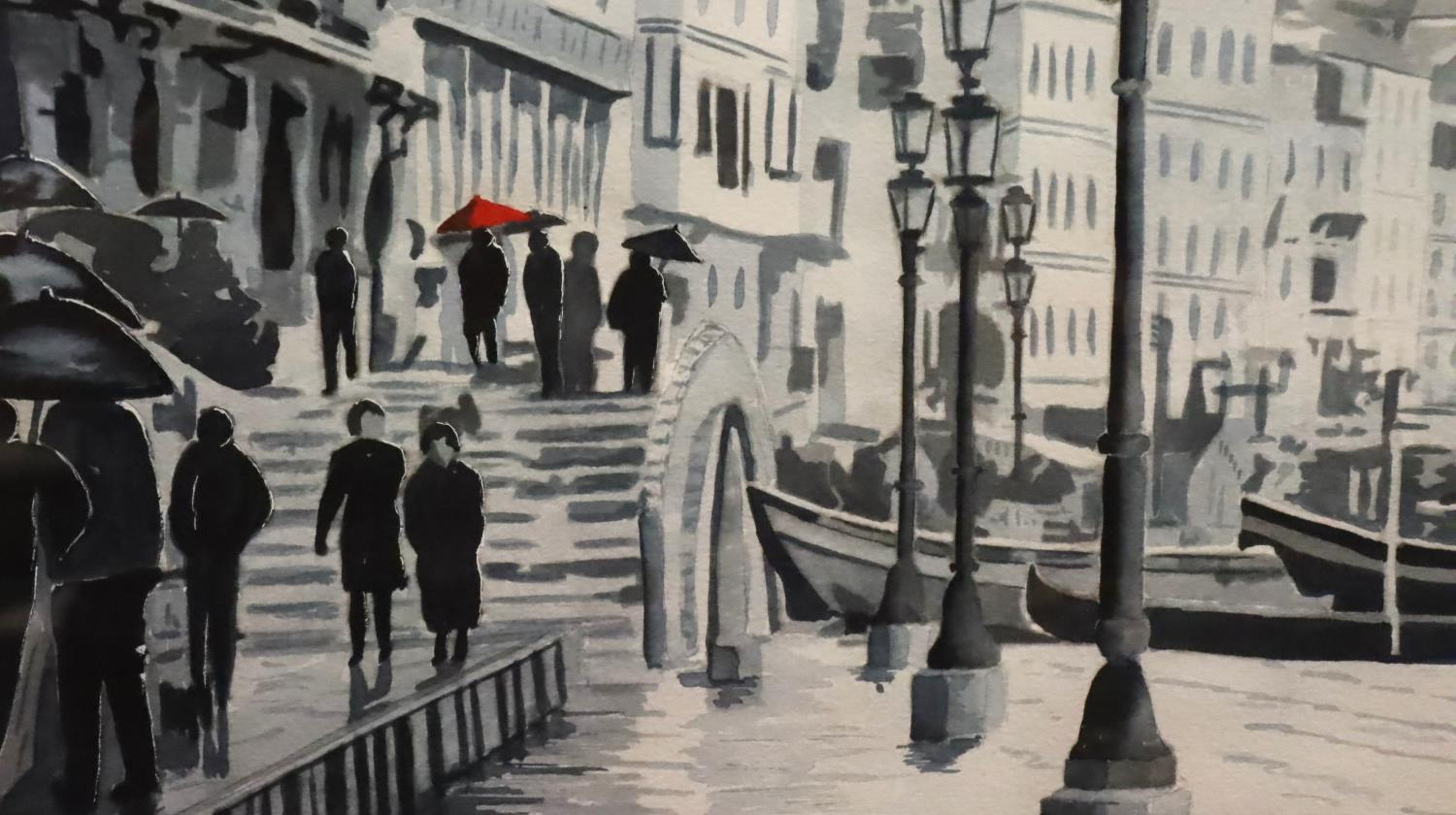 Pair of framed Dennis S. Davies with watercolours of Venice. Not available for in-house P&P, contact - Image 4 of 5