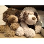 Toy large plush dogs, H: 60 cm. Not available for in-house P&P, contact Paul O'Hea at Mailboxes on