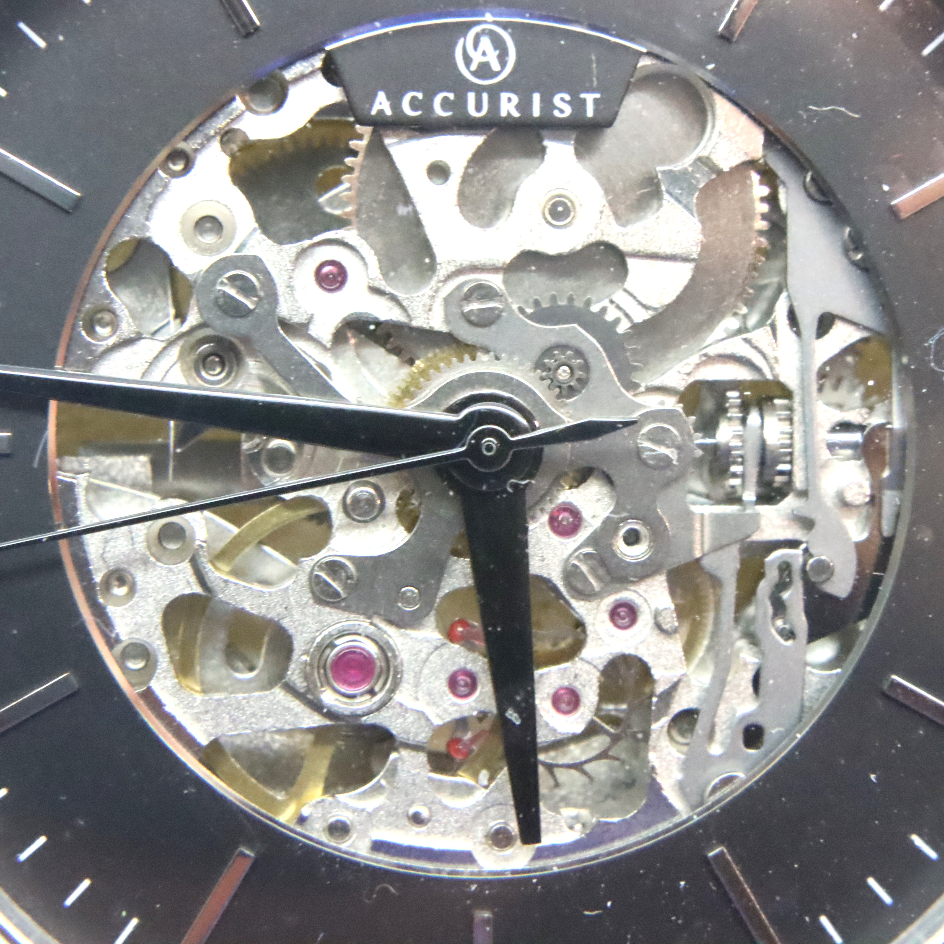 Accurist; gents automatic skeleton wristwatch. working at lotting up. P&P Group 1 (£14+VAT for the - Image 2 of 4