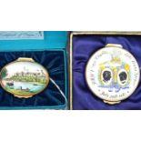 Halcyon days enamel pill box - Windsor Castle, boxed amd a further enamel pill box. P&P Group 1 (£