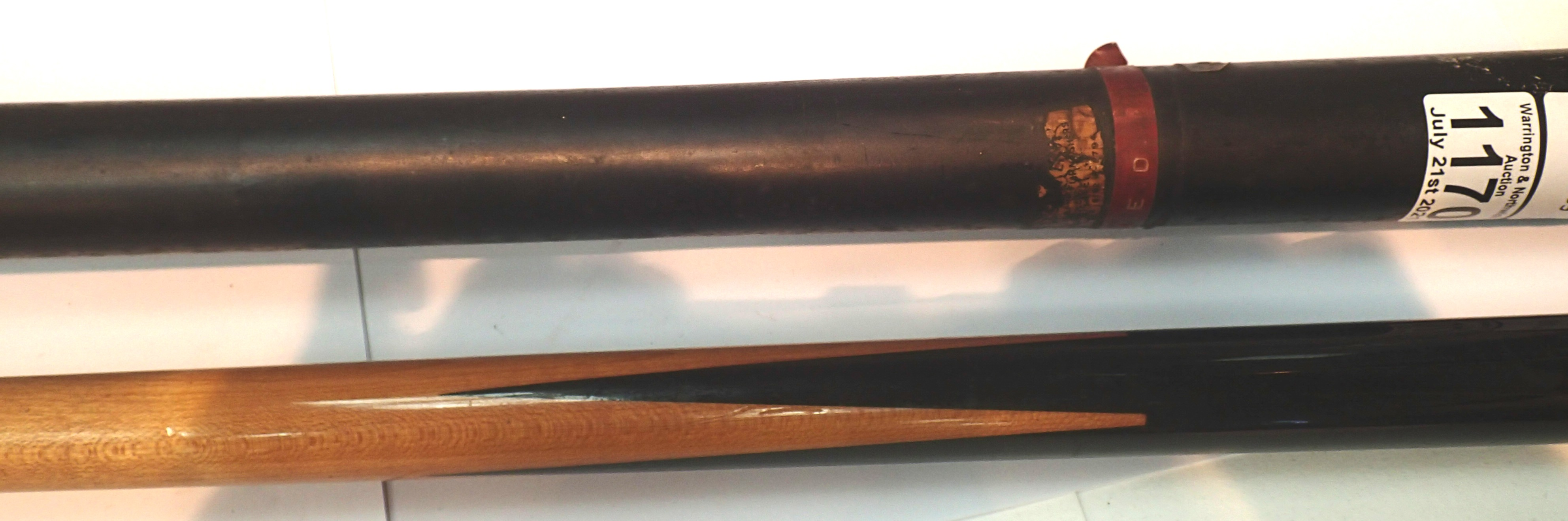 Vintage one piece snooker cue with carry case. Not available for in-house P&P, contact Paul O'Hea at
