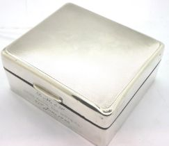 Hallmarked silver cigarette box, cedar lined and dated 1946 by inscription. P&P Group 1 (£14+VAT for
