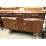 Vintage oak three drawer over two cupboard sideboard, L: 140 cm. Not available for in-house P&P,