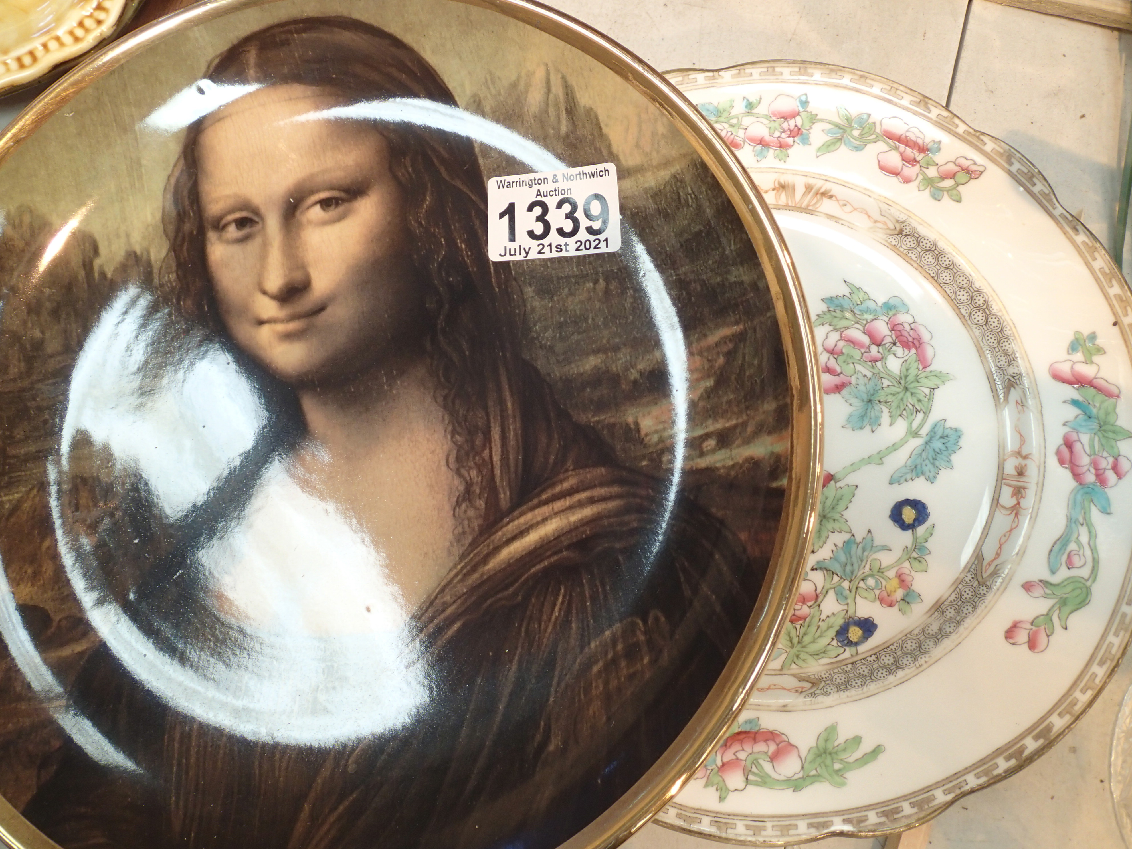 Mona Lisa plate and another. Not available for in-house P&P, contact Paul O'Hea at Mailboxes on