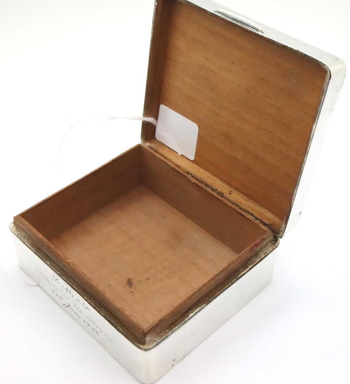 Hallmarked silver cigarette box, cedar lined and dated 1946 by inscription. P&P Group 1 (£14+VAT for - Image 2 of 4