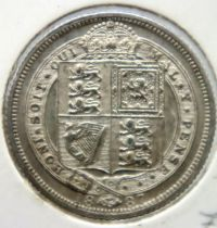 1887 withdrawn sixpence in near uncirculated condition. P&P Group 1 (£14+VAT for the first lot