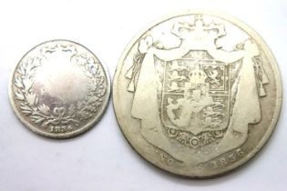 Half crown and sixpence of William IV. P&P Group 1 (£14+VAT for the first lot and £1+VAT for