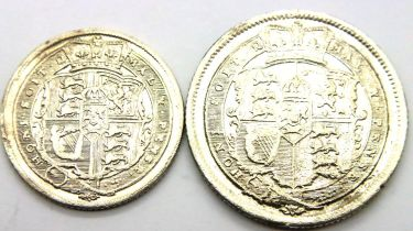 1816 sixpence and shilling of George III. P&P Group 1 (£14+VAT for the first lot and £1+VAT for