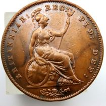 1858 penny of Queen Victoria. P&P Group 1 (£14+VAT for the first lot and £1+VAT for subsequent lots)