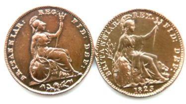 Two early milled farthings of George IV and Queen Victoria. P&P Group 1 (£14+VAT for the first lot