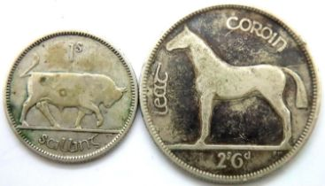 Two Irish silver coins to including a half crown. P&P Group 1 (£14+VAT for the first lot and £1+
