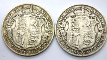 Two silver half crowns of George V. P&P Group 1 (£14+VAT for the first lot and £1+VAT for subsequent