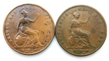 1853 and 1855 pennies of Queen Victoria. P&P Group 1 (£14+VAT for the first lot and £1+VAT for