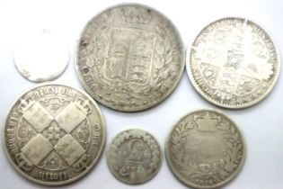 Six young head silver coins of Queen Victoria including two Gothic florins. P&P Group 1 (£14+VAT for