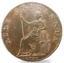 1795 Portsmouth Howard Somersey Rule Brittania token. P&P Group 1 (£14+VAT for the first lot and £