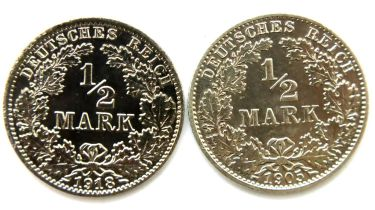 Two silver German Half Marks of the Third Reich. P&P Group 1 (£14+VAT for the first lot and £1+VAT