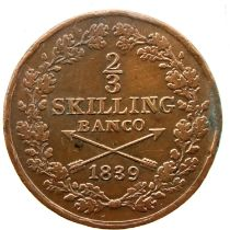 1839 Swedish 2/3 Skilling. P&P Group 1 (£14+VAT for the first lot and £1+VAT for subsequent lots)