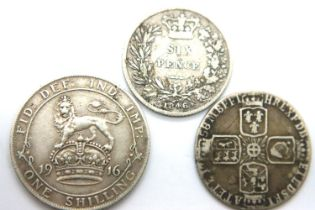 Three silver coins of George II, Queen Victoria and George V. P&P Group 1 (£14+VAT for the first lot