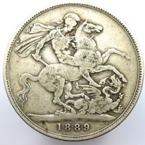 1889 crown of Queen Victoria. P&P Group 1 (£14+VAT for the first lot and £1+VAT for subsequent lots)