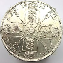 1890 double florin of Queen Victoria. P&P Group 1 (£14+VAT for the first lot and £1+VAT for