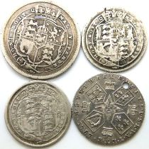 Four mixed silver coins of George III. P&P Group 1 (£14+VAT for the first lot and £1+VAT for
