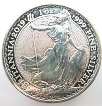 2019 999 silver Britannia 1oz £2 coin. P&P Group 1 (£14+VAT for the first lot and £1+VAT for