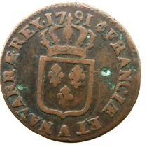 1791 French Sol of Louis XVI. P&P Group 1 (£14+VAT for the first lot and £1+VAT for subsequent lots)