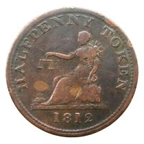 1812 copper half penny trade token. P&P Group 1 (£14+VAT for the first lot and £1+VAT for subsequent
