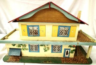 Gee Bee Toys, Hull, dolls house circa 1960s, wood with tinplate opening windows/doors, in good