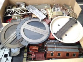 Large quantity of plastic and card buildings, all ex layout, some damaged/parts missing, suitable