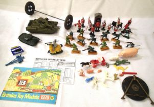 Dinky Toys Chieftain tank, Airfix tank Britains 1970 catalogue and price list, also a selection of