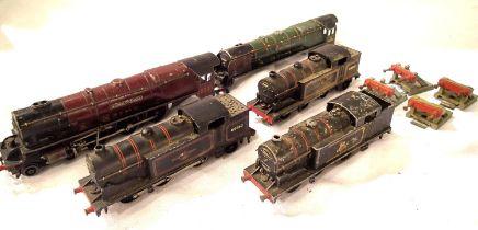 Hornby Dublo 2 Rail, three 0.6.2. tanks, plus three Rail Duchess of Atholl, body shell for Duchess