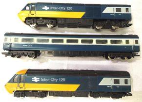 Hornby three car Inter City 125 set, blue/grey Livery, power car - dummy end car and centre coach,