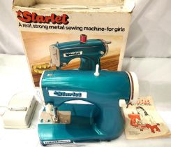 Meccano Starlet battery operated sewing machine, metal, complete with footswitch, instructions