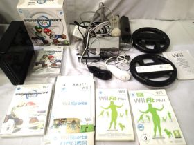 Nintendo Wii Mario Kart edition with two steering wheels, two controls, leads, instruction manuals