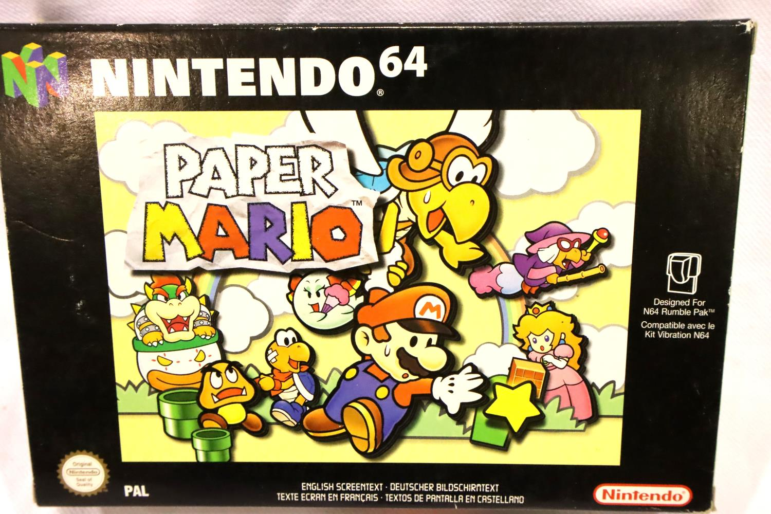 Nintendo 64 game Paper Mario with all booklets/leaflets etc, all cartridges present. P&P Group 1 (£