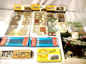 Three Superquick card/building kits - church, terraced houses and supermarket/shop, new/sealed, also