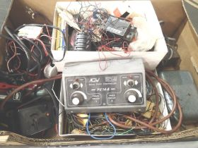 Selection of model railway controllers, transformers, wiring, switches, plus Relco track cleaner,