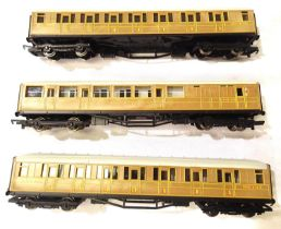 Three Hornby (China), LNER Teak coaches, 22356, 22357 and Brake End 4237, in very good - excellent